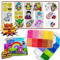 FunzBo Fuse Beads for Kids Craft Art - 106 Patterns Fusebead Melty Fusion Colored Perla Pearler Beads Arts and Crafts Pearler Set for Boys Girls Age 4 5 6 7 8 Year Old Classroom (Mega)