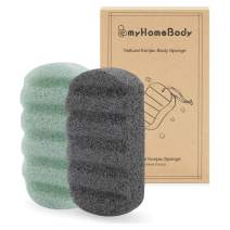Konjac Bath and Shower Sponge, Natural, Soft, Ribbed Konjac Sponge for Gentle Washing | Healthy Vegan Face and Body Sponge with Aloe Vera and Activated Charcoal 2pc Set