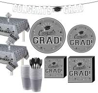 Party City Silver Congrats Grad 2020 Graduation Party Supplies for 36 Guests with Tableware and Banner