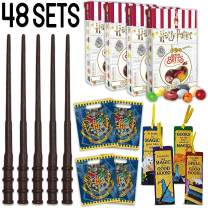 Wizard Party Favors - 48 Boxes Harry Potter Bertie Botts Every Flavour Beans, 48 Wands, 48 Bookmarks (4 Styles), 48 Loot Bags - Great for Birthday and Theme Party Prizes, Handouts & Gifts