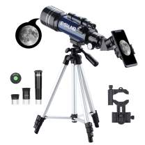 ESSLNB Telescope for Kids with Phone Adapter 70mm Beginners Telescopes for Astronomy with Adjustable Tripod 3X Barlow Lens and Moon Filter