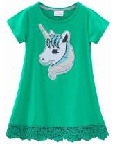 HH Family Girls Flip Sequin Dress Unicorn Mermaid Rainbow Casual Swing Party Shirt Dress