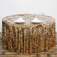 """Efavormart 120"""" Big Payette Sparkly Sequin Round Tablecloth for Wedding Banquet Party - Gold - Premium Collection"""
