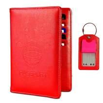 Passport Holder with Luggage Tag, Leather RFID Blocking Bag, Travel Passport Organizer