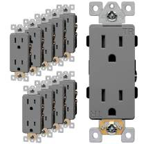 ENERLITES Industrial Grade Decorator Outlet, 15A 125V, Tamper-Resistant Duplex Receptacle, Self-Grounding, 5-15R, 2-Pole, 3-Wire Grounding, UL Listed, 63150-TR, Gray (10 Pack)
