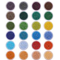 PH PandaHall 24 Boxes 24000 Pcs 12/0 Multicolor Beading Glass Seed Beads 24 Colors Silver Lined Round Pony Bead Waist Beads Mini Spacer Beads Diameter 2mm with Container Box for Jewelry Making