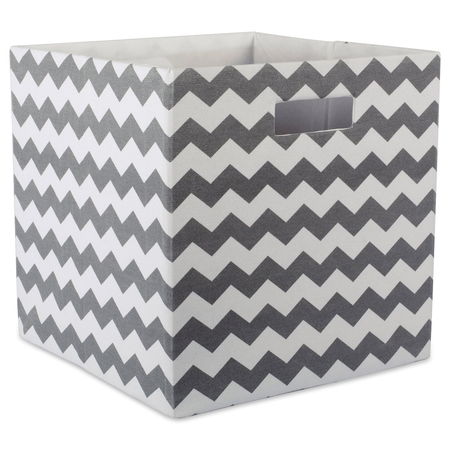 "DII Hard Sided Collapsible Fabric Storage Container for Nursery, Offices, & Home Organization, (13x13x13"") - Chevron Gray"