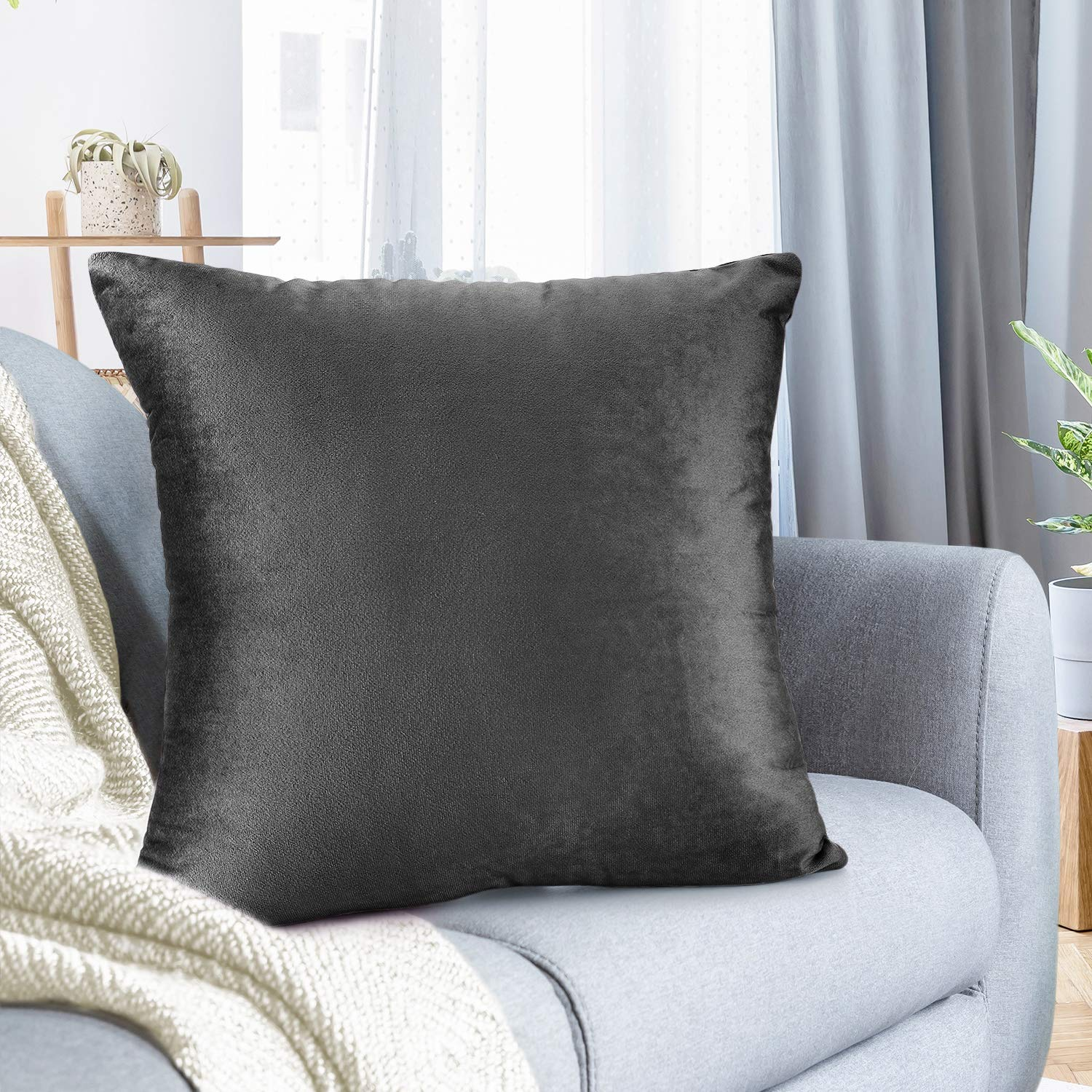 """Nestl Bedding Throw Pillow Cover 16"""" x 16"""" Soft Square Decorative Throw Pillow Covers Cozy Velvet Cushion Case for Sofa Couch Bedroom - Charcoal Stone Gray"""