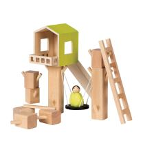 MiO Tree Fort + 1 Bean Bag Person Peg Doll Imaginative Montessori Style STEM Learning Wooden Building Playset for Boys and Girls 3 Years + Up by Manhattan Toy