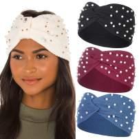 Knitted Headband PearlsKnottedTurban -3PcsWinterknittedHairbandEarWarmer SolidColorCorchetHeadWrapforWomenandGirls(Black+wine red+blue)