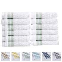 Great Bay Home 12-Piece Washcloth Set. 100% Cotton Popcorn Textured Striped Bathroom Towels. Quick Dry and Absorbent Facecloths. Elham Collection (12 Pack, Eucalyptus)