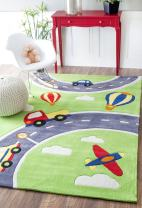 "nuLOOM Modern City Nursery Kids Rug, 5' x 7' 6"", Green"