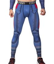 Red Plume Men's Compression Elastic Tight Leggings Sport Leader Printing Pants