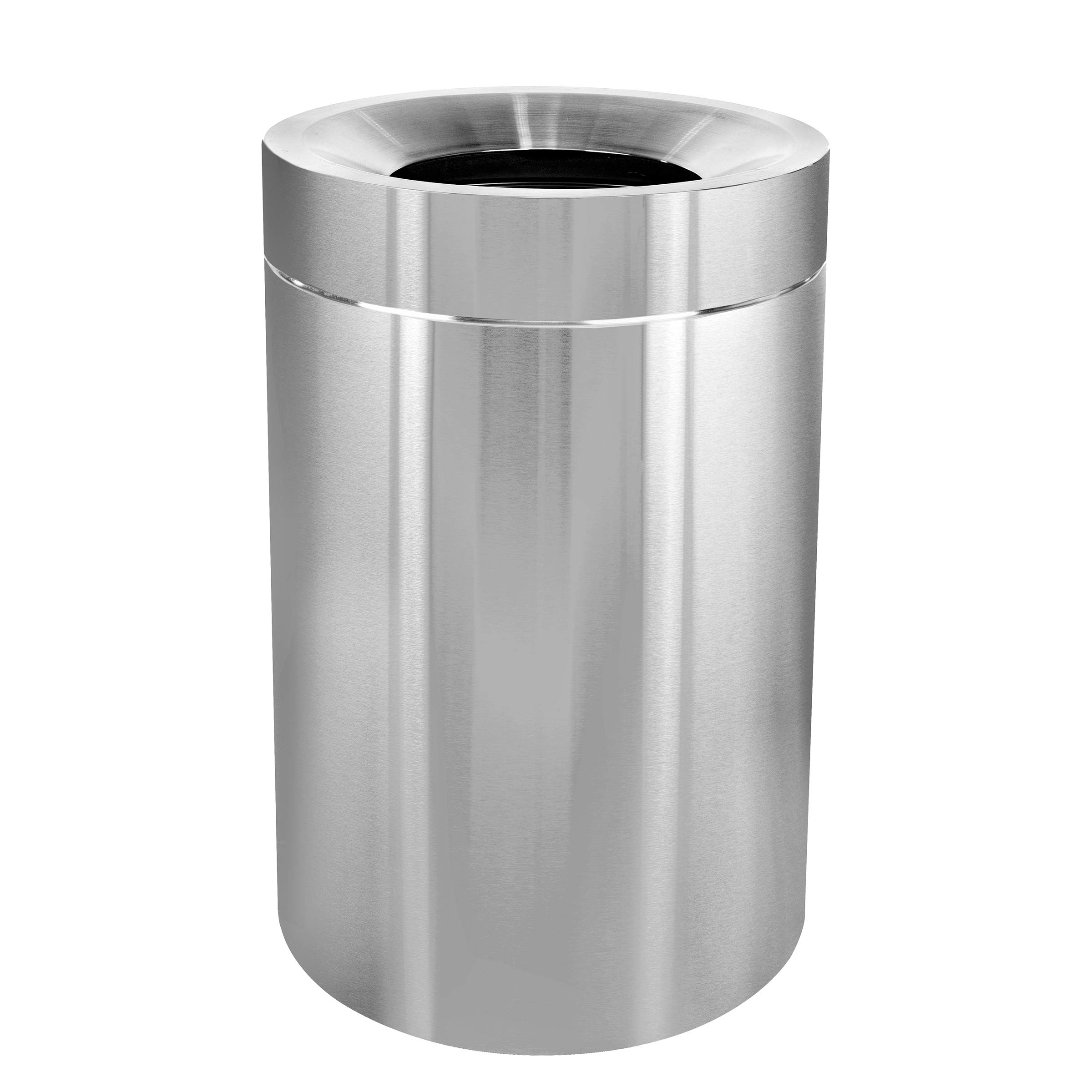 Alpine Industries 50-Gallon Indoor Trash Can - Large & Corrosion Proof Stainless Steel Garbage Bin - Heavy Duty Waste Disposal Trashcan for Litter Free Home, Schools, Hospitals and Businesses