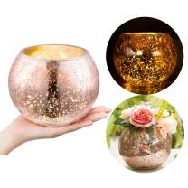 Diamond Star Mercury Glass Vase Ice Cracked Glass Candle Holder Home Decorative Round Flower Vase Wedding Table Centerpieces (Small)