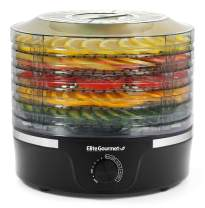 "Elite Gourmet Food Dehydrator, 5 BPA-Free 11.4"" Trays, Adjustable Temperature Control for Homemade Jerky Herbs Fruit Veggies Meats Snacks Treats, Black"