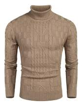 COOFANDY Mens Cable Knit Turtleneck Sweater Slim Fit Ribbed Casual Long Sleeve Pullover