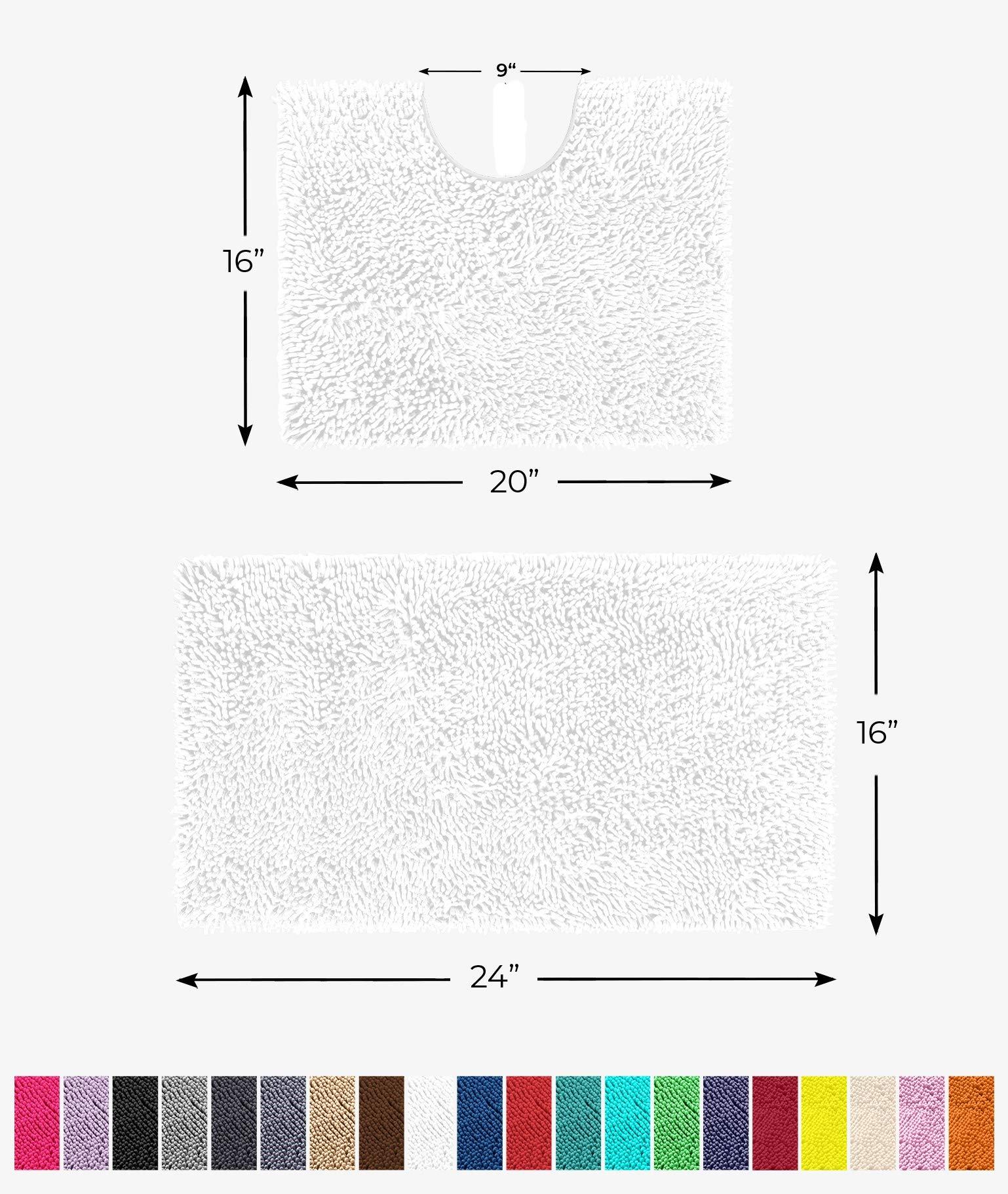 LuxUrux Bathroom Rugs Luxury Chenille 2-Piece Bath Mat Set, Soft Plush Anti-Slip Bath Rug +Toilet Mat.1'' Microfiber Shaggy Carpet, Super Absorbent (Curved Set Small, White)