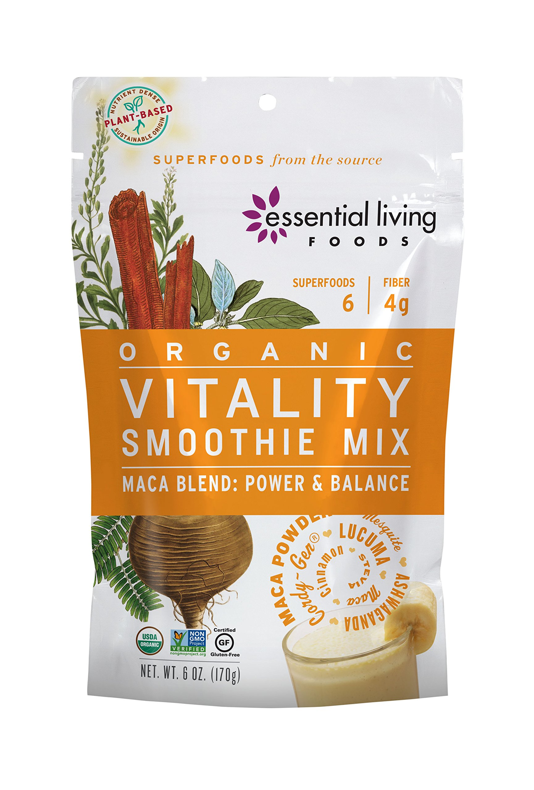 Essential Living Foods Organic Vitality Maca Blend Smoothie Mix, With Ashwagandha, Cordy-Gen, Mesquite, Lucuma, Adaptogen, Vegan, Superfood, Non-GMO, Gluten Free, Kosher, 6 Ounce Resealable Bag