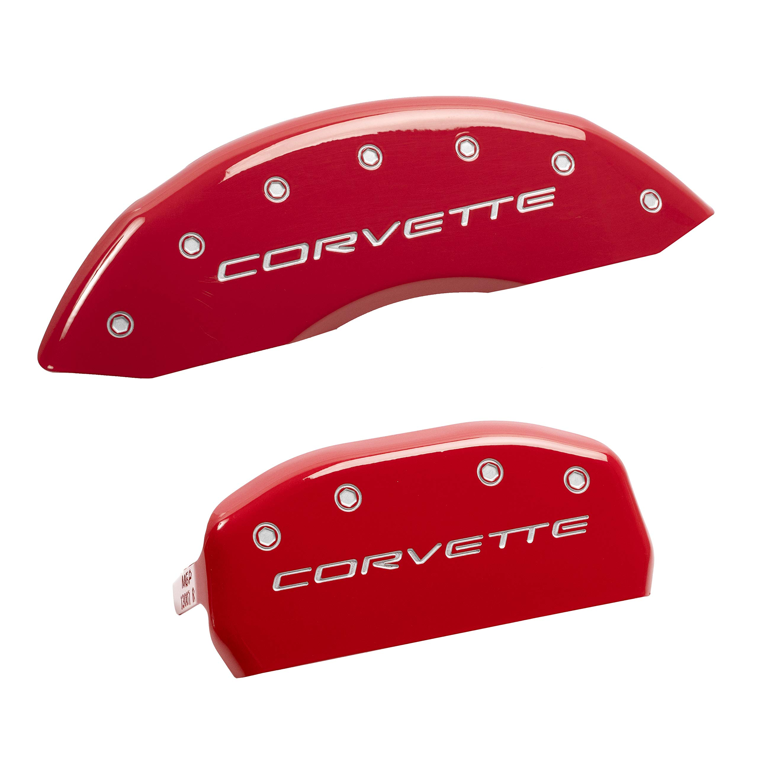 MGP Caliper Covers 13007SCV5RD Corvette C5 Logo Type Caliper Cover with Red Powder Coat Finish and Silver Characters, (Set of 4)