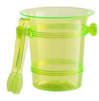 Exquisite 1.5 Quart Hard Plastic Ice Bucket With Tongs- 6 Count- Lime Green