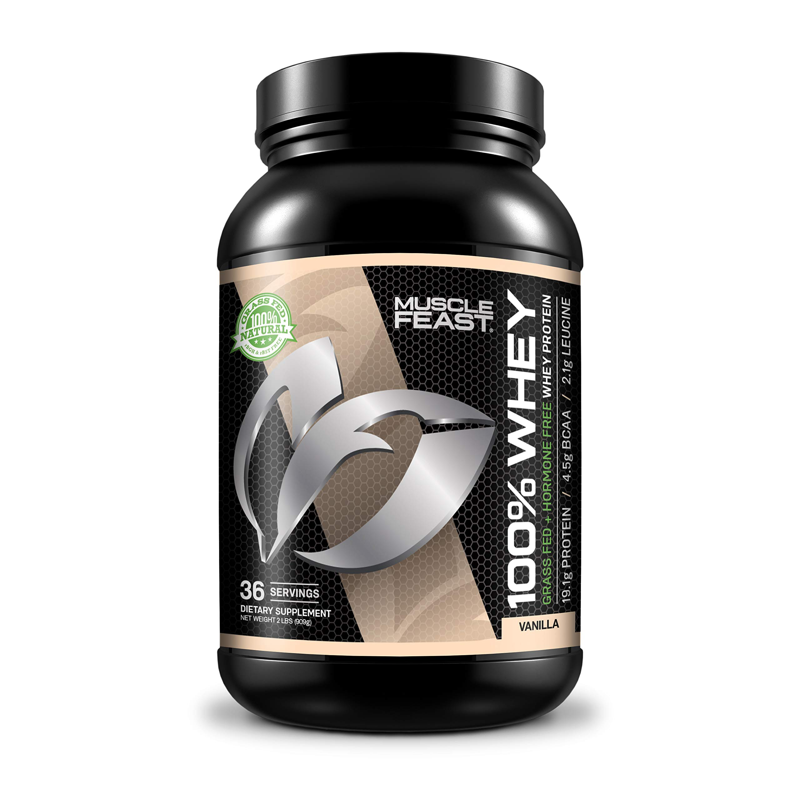 Muscle Feast 100% Whey Protein Blend, Grass Fed & Hormone Free, Blend of Concentrate, Isolate, and Hydrolyzed Whey Protein (2lb, Vanilla)