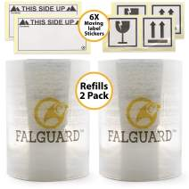 Falguard Stretch Wrap Refills Rolls – Clear Plastic Cling Wrap Film for Pallet Packing and Moving Supplies Shrink Wrap - 5 Inches x 1000 feet 80 Gauge (2 Pack)