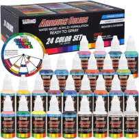U.S. Art Supply 24 Color Acrylic Airbrush, Leather & Shoe Paint Set Opaque Colors Plus Reducer, Cleaner & Color Mixing Wheel