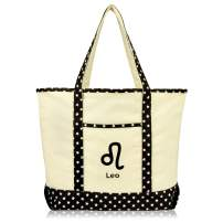 DALIX Zodiac Sign Shopping Tote Bag Black Star Horoscope Gifts - Leo
