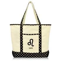 DALIX Zodiac Sign Shopping Tote Bag Black Star Horoscope Gifts - Leo