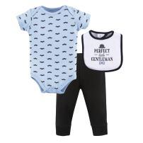 Hudson Baby Unisex Baby Cotton Bodysuit, Pant and Bib Set