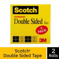 Scotch Brand Scotch Double Sided Tape, Engineered for Office and Home Use, 3/4 x 1296 Inches, 3 Inch Core, Boxed, 2 Rolls (665-2P34-36), Clear
