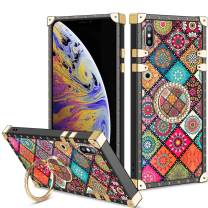 Vofolen Cover for iPhone Xs Max Case Ring Holder Kickstand Exotic Colorful Square Diamond Rivet Protective Soft Shell Rotational Fold-able Anti-Slip Finger Loop for iPhone Xs Max 6.5 (Mandala Flower)