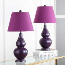 Safavieh Lighting Collection Cybil Double Gourd Table Lamp, Set of 2, Dark Purple
