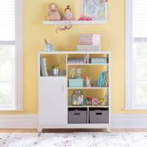 MARTHA STEWART Living and Learning Kids' Media System (White) – 43 Inch Wooden Cubby Storage Organizer Bookcase with Fabric Bins for Bedroom and Playroom