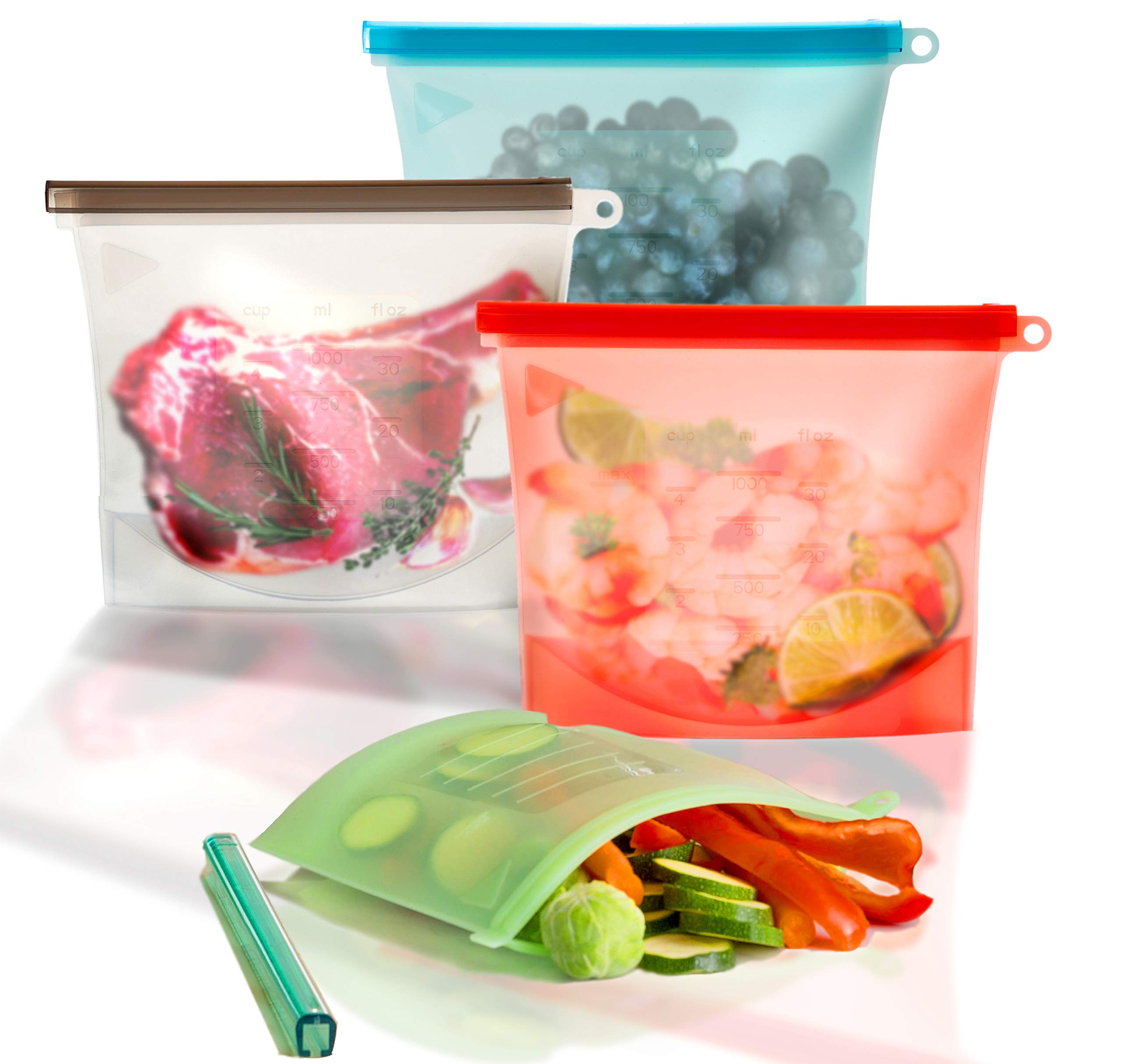 Silicone Food Bags, Reusable Sandwhich Bags & Freezer Bags - Set of 4 – Double Thick Silicone Bags – Economical & Eco Friendly – Microwave & Dishwasher Safe