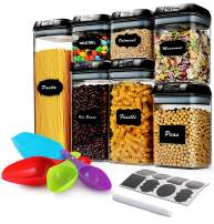 7 Pcs Airtight Food Storage Container Set - Kitchen & Pantry Organization Containers with Labels & Marker - BPA-Free,Clear Plastic Canisters for Flour, Cereal with Improved Lids