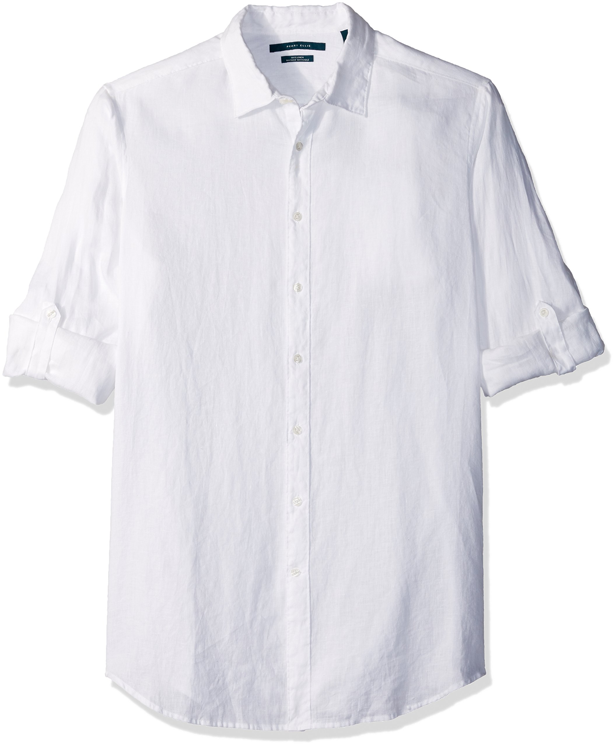 Perry Ellis Men's Big and Tall Solid Rolled-Sleeve Linen Shirt