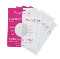 Fusion Face Mask - Raspberry and Yogurt for Anti aging, Brighten, Moisturizer, Hydrate, Blemish, Dark Circles Control For Oily, Dry, Sensitive Skin - Organic & Natural Essence 5 Sheets Set