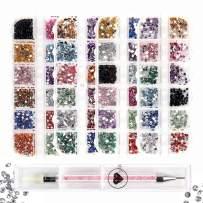 ANGNYA Nail Art Rhinestones -6400Pcs Multicolor Nail Gems Crystals with 1 Piece Acrylic Handle Pickup Tools Pen for Nail Art Decorations Supplies 4 Boxes Kit
