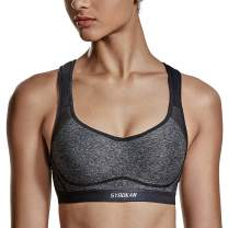 SYROKAN Women's Full Coverage Racerback High Impact Workout Firm Support Padded Push Up Sports Bra