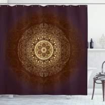 "Ambesonne Mandala Shower Curtain, Universe Spiritiual Culture Vintage Floral Motif, Cloth Fabric Bathroom Decor Set with Hooks, 84"" Long Extra, Chestnut Brown"