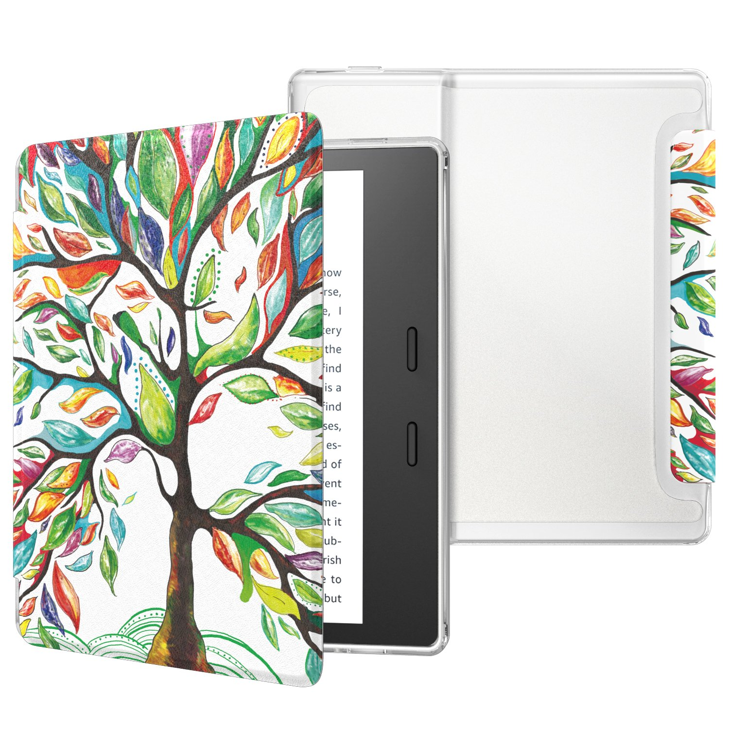 MoKo Case Fits All-New Kindle Oasis (9th and 10th Generation ONLY, 2017 and 2019 Release), Slim Lightweight Cover with Translucent Frosted Back Protector - Lucky TREE