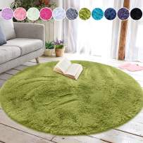 junovo Round Fluffy Soft Area Rugs for Kids Girls Room Princess Castle Plush Shaggy Carpet Cute Circle Nursery Rug for Kids Baby Girls Bedroom Living Room Home Decor Small Circular Carpet, 4ft Green