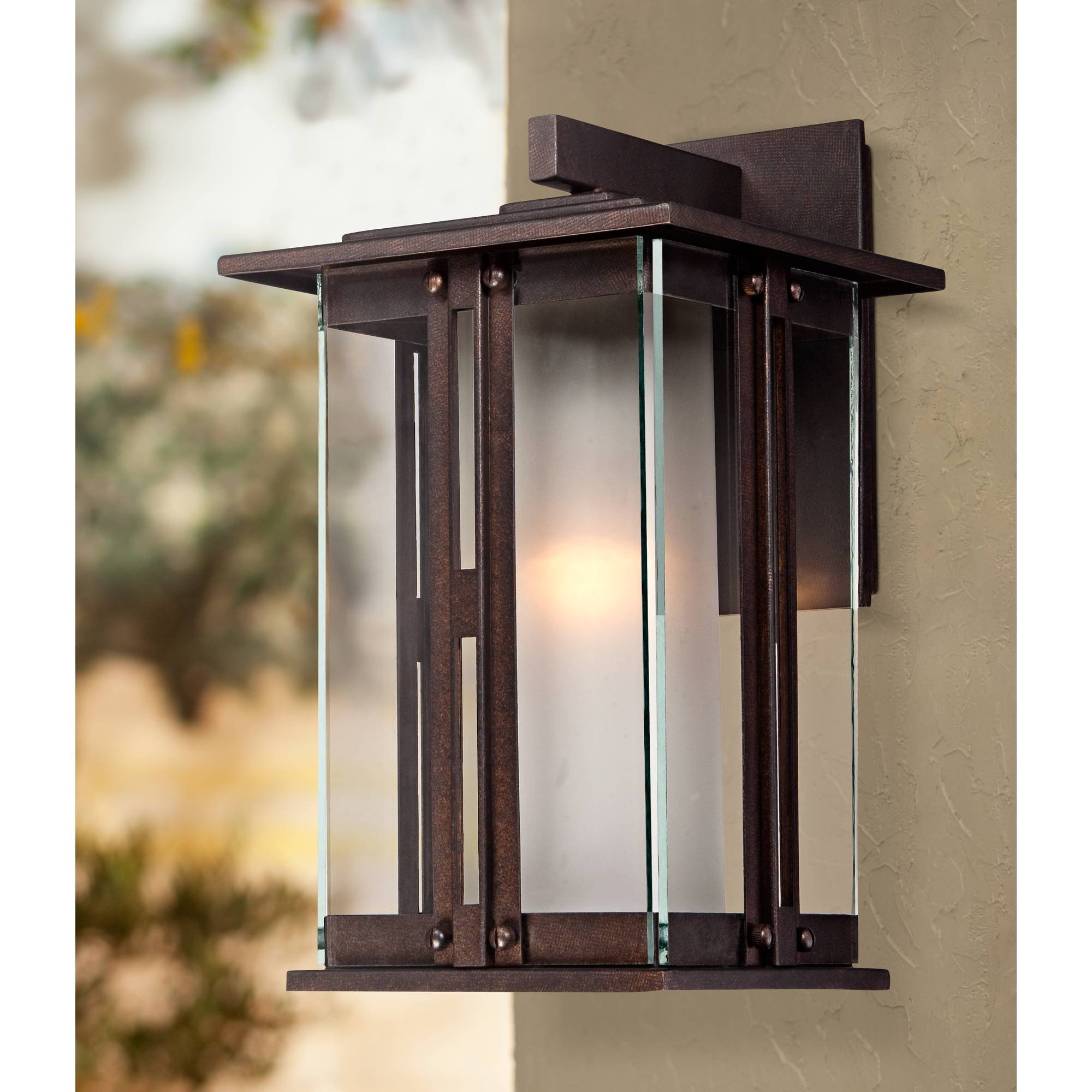 "Fallbrook Modern Outdoor Wall Light Fixture Bronze 13"" Clear and Frosted Glass Lantern for Exterior House Porch Patio - Franklin Iron Works"