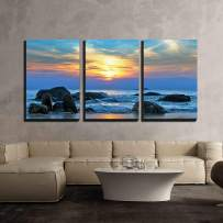"""wall26 - 3 Piece Canvas Wall Art - Sunset Over The Sea - Modern Home Decor Stretched and Framed Ready to Hang - 16""""x24""""x3 Panels"""