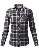 Awesome21 Women's Causal Flannel Long Sleeve Button-Down Mandarin Collar Hoodie Shirt