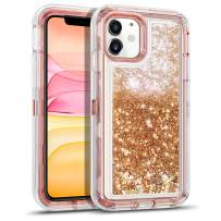 WESADN Case for iPhone 11 Case for Women Girls Glitter Cute Protective Shockproof Heavy Duty Clear Case with Sparkle Bling Quicksand Hard Bumper Soft TPU Cover for iPhone 11,6.1 Inches,Light Brown
