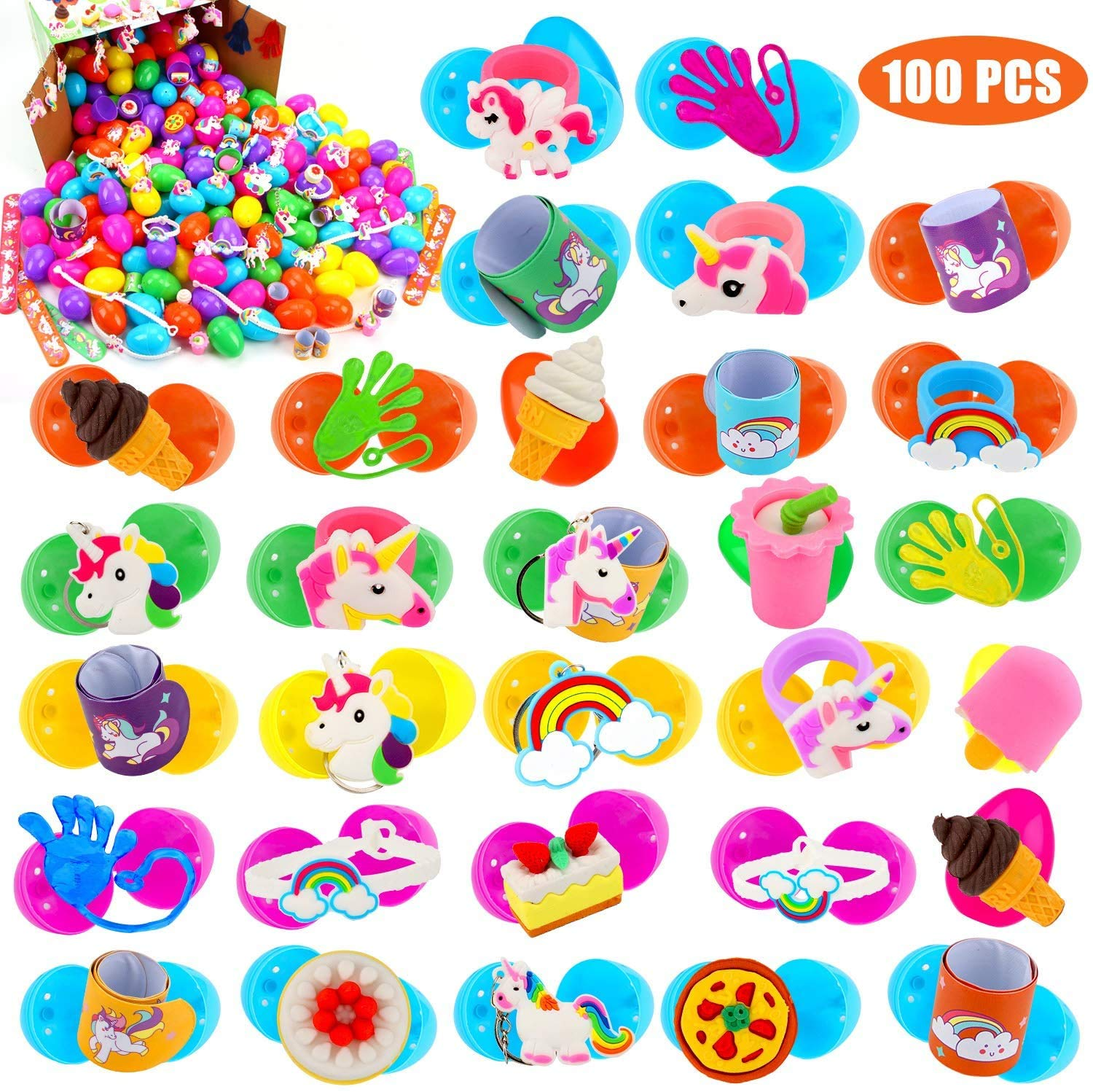 UFUNGA 100 Pack Toy Filled Easter Eggs-Colorful Plastic Easter Eggs with Different Kinds of Little Toys,for Easter Hunt, Basket Stuffers Fillers, Theme Party Favor for Kids (2.36in)