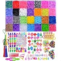 Rainbow Rubber Bands Refill Kit, Loom Rubber Band Bracelet Kit for Kids Girls Boys DIY Kit for Age 6 and Up, 11950+ Loom Bands in 28 Colors, 600 Clips, 200 Beads, 54 Charms, 5 Crochet Hooks, 2 Y Looms